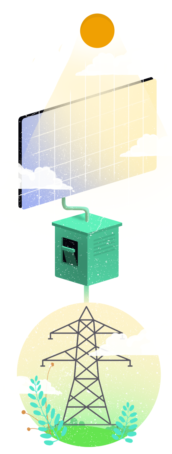 Schemat wytwarzania energii z promieni słonecznych