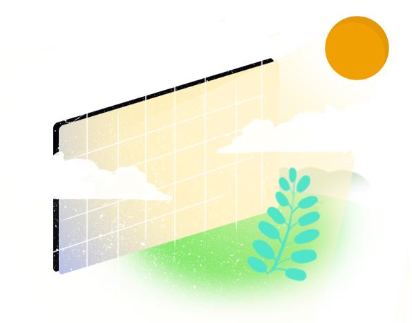 Zdjęcie graficzne ukazujące baterię słoneczną z zachodzącym zielonym słońcem